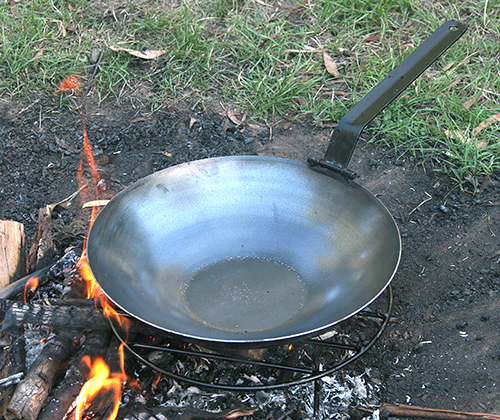 Induction stove compatible, gas, electric and campfire safe. Steel Wok with folding handle. Made using only natural materials and no artificial coatings. They are a naturally non-stick cooking surface. Easy to clean and made to last. Check out our kit offers. Dimensions: 350mm (Base 140mm) x80mm (Handle when folded extends 30mm x 35mm from edge of pan)